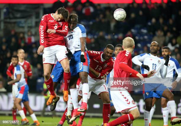 Thomas Delaney of Denmark Abdiel Arroyo of Panama during the international friendly match between Denmark and Panama at Brondby Stadion on March 22...