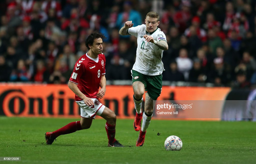 Thomas Delaney of Denmark and James McClean of Republic of Ireland during the FIFA 2018 World Cup Qualifier Play-Off: First Leg between Denmark and Republic of Ireland at Telia Parken on November 11, 2017 in Copenhagen, Denmark.