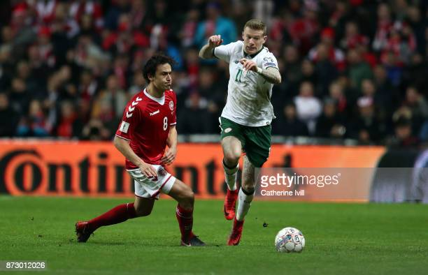Thomas Delaney of Denmark and James McClean of Republic of Ireland during the FIFA 2018 World Cup Qualifier PlayOff First Leg between Denmark and...