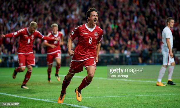 Thomas Delaney of Denmark celebrates after scoring their first goal during the FIFA World Cup 2018 qualifier match between Denmark and Poland at...