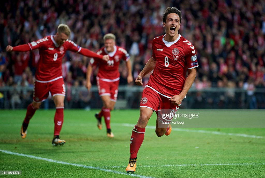 Thomas Delaney of Denmark celebrates after scoring their first goal during the FIFA World Cup 2018 qualifier match between Denmark and Poland at Telia Parken Stadium on September 1, 2017 in Copenhagen, Denmark.