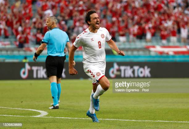 Thomas Delaney of Denmark celebrates after scoring their side's first goal during the UEFA Euro 2020 Championship Quarter-final match between Czech...