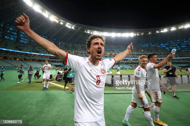 Thomas Delaney of Denmark celebrates after victory in the UEFA Euro 2020 Championship Quarter-final match between Czech Republic and Denmark at Baku...