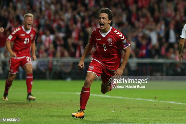 Thomas Delaney of Denmark celebrates scoring the first goal during the FIFA 2018 World Cup Qualifier between Denmark and Poland at Parken Stadion on...