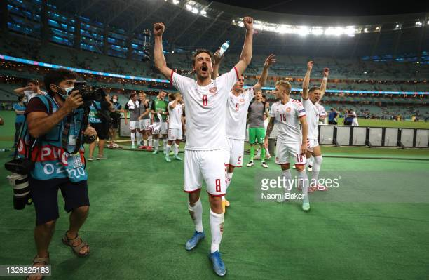 Thomas Delaney of Denmark celebrates their side's victory after the UEFA Euro 2020 Championship Quarter-final match between Czech Republic and...