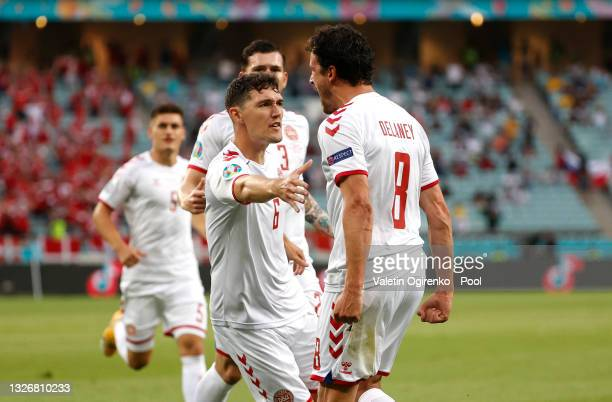 Thomas Delaney of Denmark celebrates with Andreas Christensen after scoring their side's first goal during the UEFA Euro 2020 Championship...
