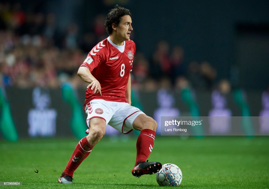 Thomas Delaney of Denmark controls the ball during the FIFA 2018 World Cup Qualifier Play-Off First Leg match between Denmark and Republic of Ireland at Telia Parken Stadium on November 5, 2017 in Copenhagen, Denmark.