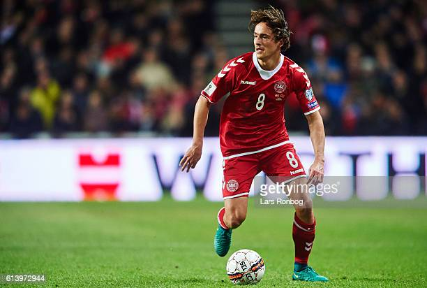 Thomas Delaney of Denmark controls the ball during the FIFA World Cup 2018 european qualifier match between Denmark and Montenegro at Telia Parken...