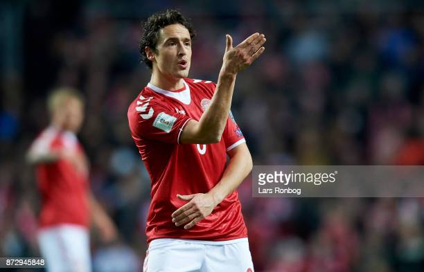 Thomas Delaney of Denmark gestures during the FIFA 2018 World Cup Qualifier PlayOff First Leg match between Denmark and Republic of Ireland at Telia...