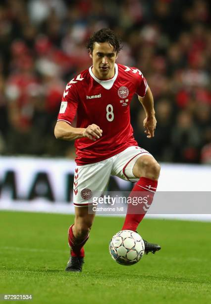 Thomas Delaney of Denmark in action during the FIFA 2018 World Cup Qualifier PlayOff First Leg between Denmark and Republic of Ireland at Telia...