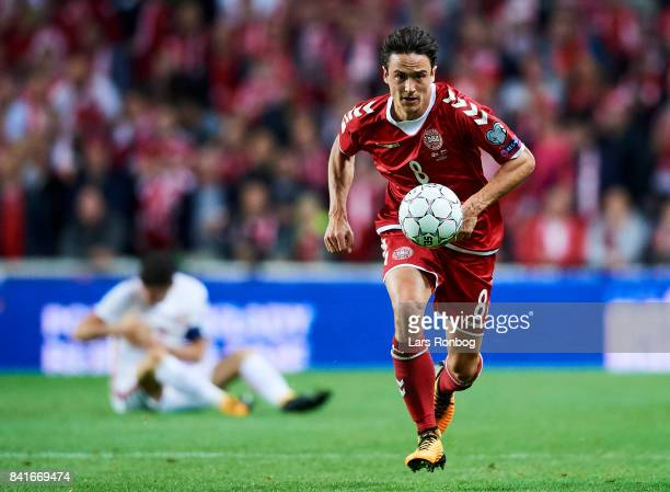 Thomas Delaney of Denmark in action during the FIFA World Cup 2018 qualifier match between Denmark and Poland at Telia Parken Stadium on September 1...