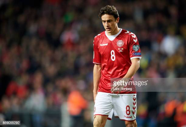 Thomas Delaney of Denmark looks dejected during the FIFA World Cup 2018 qualifier match between Denmark and Romania at Telia Parken Stadium on...