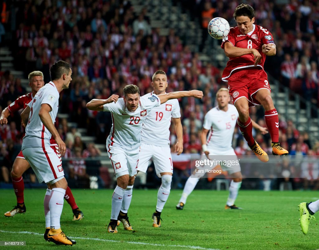 Thomas Delaney of Denmark scores the 1-0 goal during the FIFA World Cup 2018 qualifier match between Denmark and Poland at Telia Parken Stadium on September 1, 2017 in Copenhagen, Denmark.