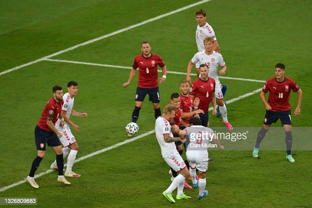 Thomas Delaney of Denmark scores their side's first goal during the UEFA Euro 2020 Championship Quarter-final match between Czech Republic and...