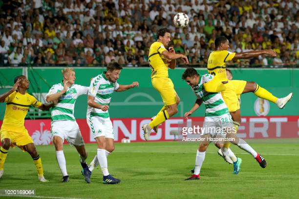 Thomas Delaney of Dortmund battles for the ball during the DFB Cup first round match between SpVgg Greuther Fuerth and BVB Borussia Dortmund at...