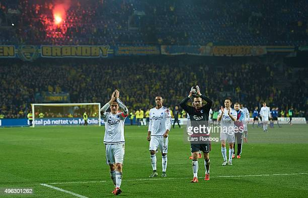Thomas Delaney of FC Copenhagen and his team mates applauds the fans after the Danish Alka Superliga match between Brondby IF and FC Copenhagen at...