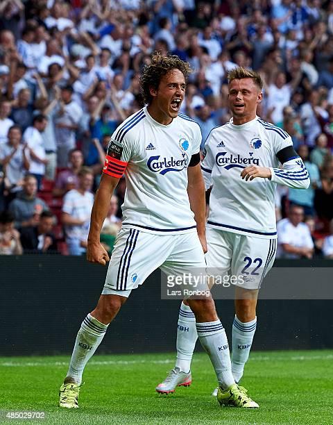 Thomas Delaney of FC Copenhagen celebrates after scoring their second goal during the Danish Alka Superliga match between FC Copenhagen and AGF...