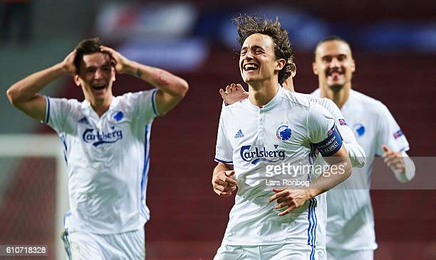 Thomas Delaney of FC Copenhagen celebrates after scoring their second goal during the UEFA Champions League match between FC Copenhagen and Club...