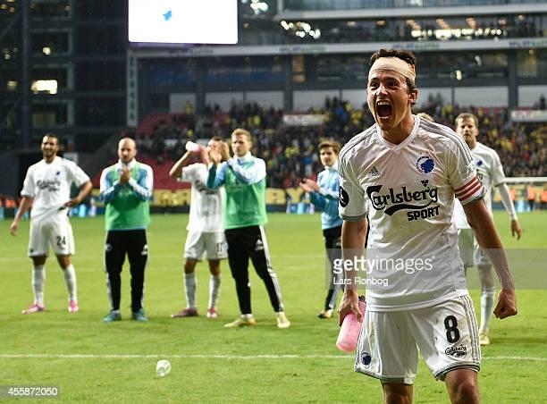 Thomas Delaney of FC Copenhagen celebrates their victory after the Danish Superliga match between FC Copenhagen and Brondby IF at Telia Parken...