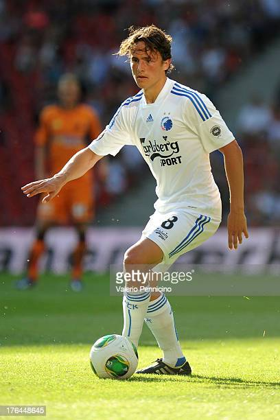 Thomas Delaney of FC Copenhagen in action during the Danish Superliga match between FC Copenhagen and Randers FC at Parken Stadium on August 4 2013...