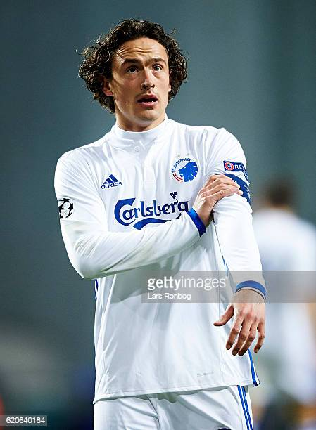 Thomas Delaney of FC Copenhagen looks on during the UEFA Champions League match between FC Copenhagen and Leicester City FC at Telia Parken Stadium...