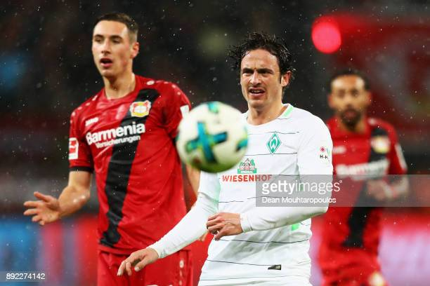 Thomas Delaney of Werder Bremen in action against Dominik Kohr of Bayer 04 Leverkusen during the Bundesliga match between Bayer 04 Leverkusen and SV...