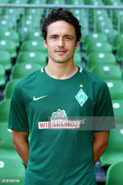 Thomas Delaney of Werder Bremen poses during the team presentation at Weser Stadium on July 19 2017 in Bremen Germany