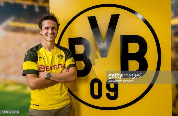 Thomas Delaney poses for a photo as he signs for Borussia Dortmund on June 7 2018 in Dortmund Germany