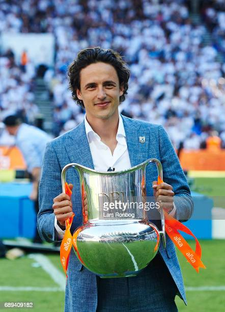 Thomas Delaney with the champions trophy after the Danish Alka Superliga match between FC Copenhagen and Sonderjyske at Telia Parken Stadium on May...