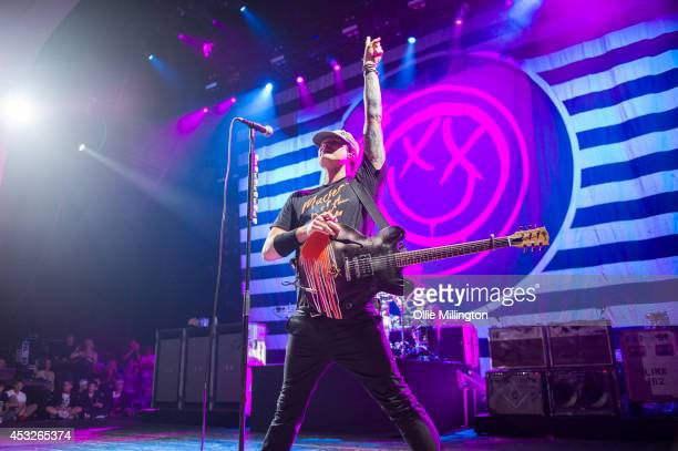 Thomas DeLonge of Blink 182 performs on stage during their Reading Leeds Festival warmup show at Brixton Academy on August 6 2014 in London United...