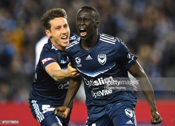 Thomas Deng of the Victory celebrates scoring a goal during the round five ALeague match between the Melbourne Victory and the Western Sydney...