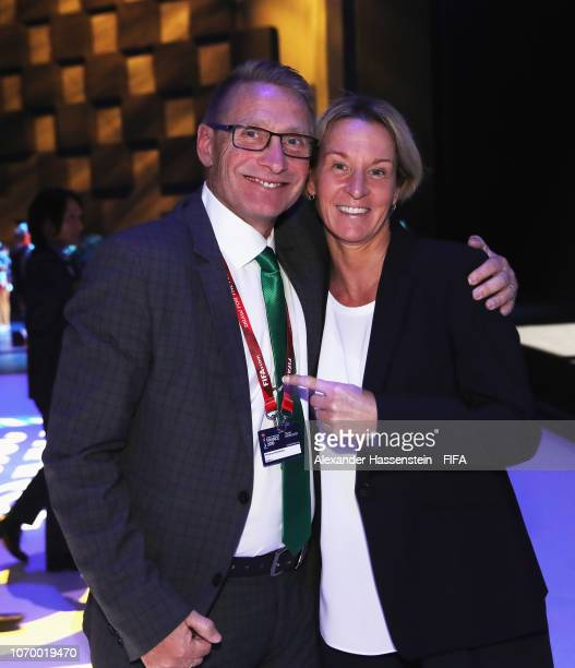 Thomas Dennerby coach of Nigeria and Martina VossTecklenburg coach of Germany pose during the FIFA Women's World Cup France 2019 Draw at La Seine...