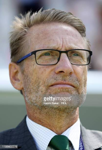 Thomas Dennerby Head Coach of Nigeria looks on during the 2019 FIFA Women's World Cup France group A match between Nigeria and Korea Republic at...