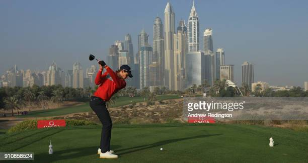 Thomas Detry of Belgium hits his teeshot on the eighth hole during the completion of the second round of the Omega Dubai Desert Classic at Emirates...