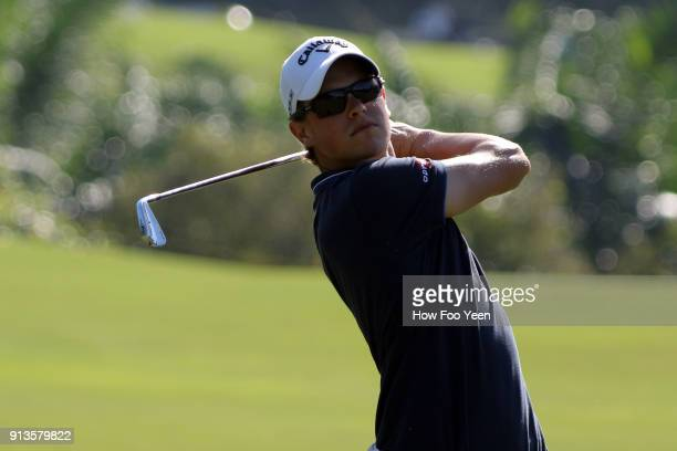 Thomas Detry of Belgium in action during day three of the 2018 Maybank Championship Malaysia at Saujana Golf and Country Club on February 3 2018 in...