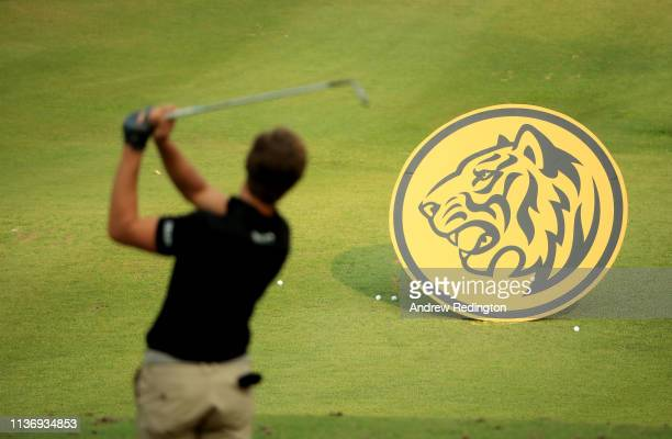 Thomas Detry of Belgium is pictured on the driving range during the Pro Am event prior to the start of the Maybank Championship at the Saujana Golf...