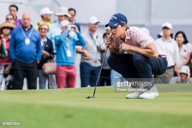 Thomas Detry of Belgium lines up a putt during round four of the UBS Hong Kong Open at The Hong Kong Golf Club on November 26 2017 in Hong Kong Hong...