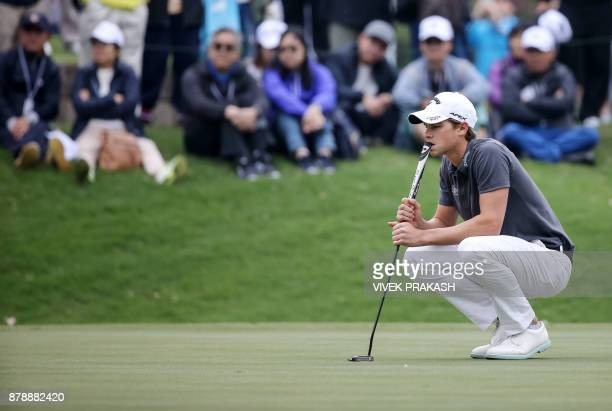 Thomas Detry of Belgium lines up a putt on the 10th green during round three of the Hong Kong Open tournament at the Hong Kong Golf Club on November...