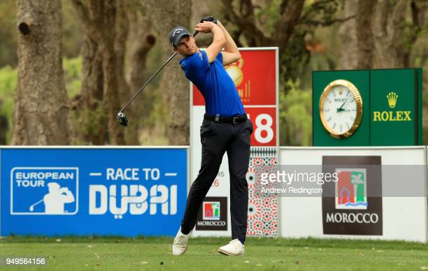 Thomas Detry of Belgium on the 18th tee during the third round of the Trophee Hassan II at Royal Golf Dar Es Salam on April 21 2018 in Rabat Morocco