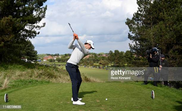 Thomas Detry of Belgium on the 9th tee during the second round of the Betfred British Masters at Hillside Golf Club on May 10 2019 in Southport...