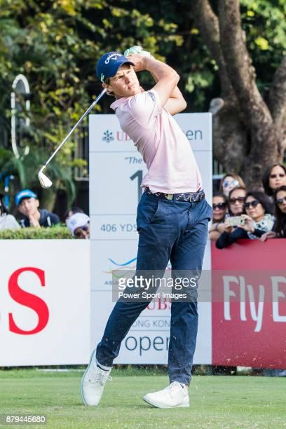 Thomas Detry of Belgium plays a shot during round four of the UBS Hong Kong Open at The Hong Kong Golf Club on November 26 2017 in Hong Kong Hong Kong