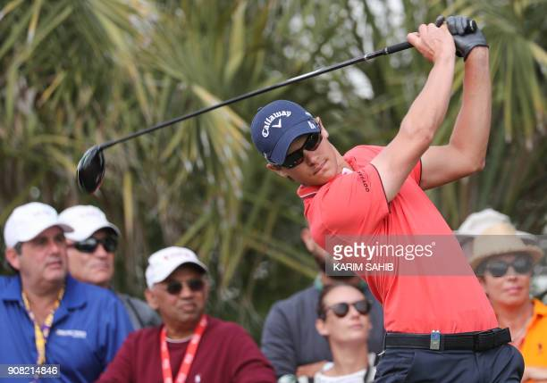 Thomas Detry of Belgium plays a shot during the final round of the Abu Dhabi Golf Championship at Abu Dhabi Golf Club on January 21 2018 / AFP PHOTO...