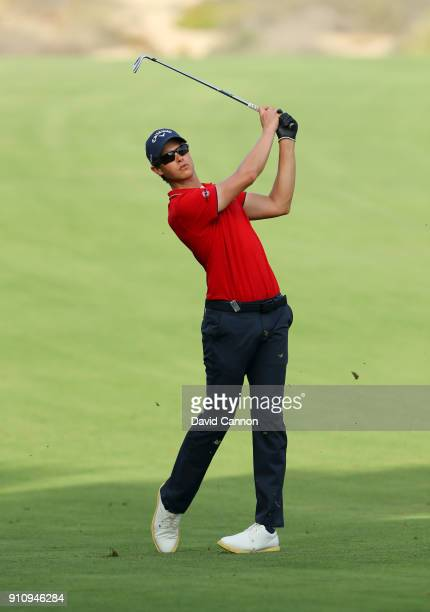 Thomas Detry of Belgium plays his second shot on the 14th hole during day three of Omega Dubai Desert Classic at Emirates Golf Club on January 27...