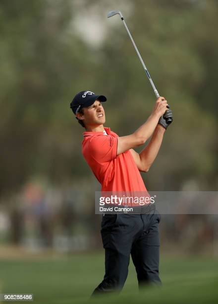 Thomas Detry of Belgium plays his second shot on the 16th hole during the final round of the Abu Dhabi HSBC Golf Championship at Abu Dhabi Golf Club...
