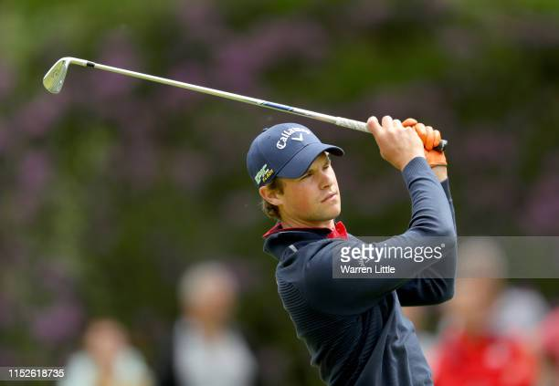 Thomas Detry of Belgium plays his second shot on the 9th hole during the first round of the Belgian Knockout Rinkven International Golf Club on May...