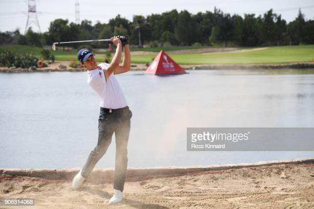 Thomas Detry of Belgium plays his second shot on the ninth hole during round one of the Abu Dhabi HSBC Golf Championship at Abu Dhabi Golf Club on...