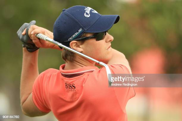 Thomas Detry of Belgium plays his second shot on the second hole during the final round of the Abu Dhabi HSBC Golf Championship at Abu Dhabi Golf...