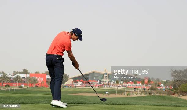 Thomas Detry of Belgium plays his shot from the ninth tee during the final round of the Abu Dhabi HSBC Golf Championship at Abu Dhabi Golf Club on...