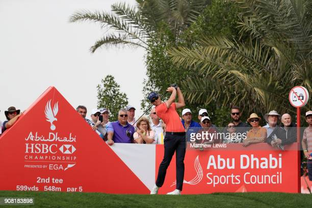 Thomas Detry of Belgium plays his shot from the second tee during the final round of the Abu Dhabi HSBC Golf Championship at Abu Dhabi Golf Club on...