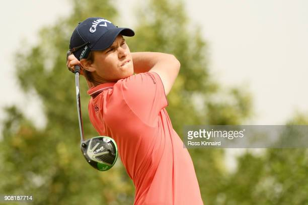 Thomas Detry of Belgium plays his shot from the third tee during the final round of the Abu Dhabi HSBC Golf Championship at Abu Dhabi Golf Club on...